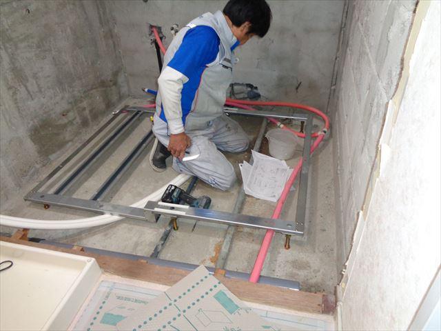 10.ユニットバス組立工事(床ベース枠設置)